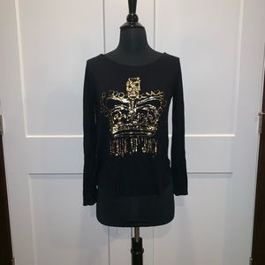 Juicy Couture black t-shirt with gold crown